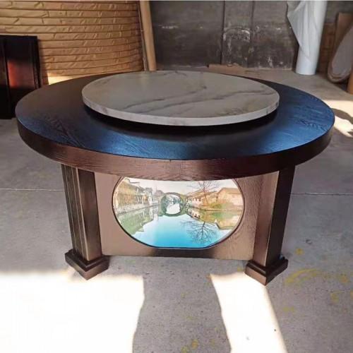 新中式酒店电动餐桌圆桌带转盘 02