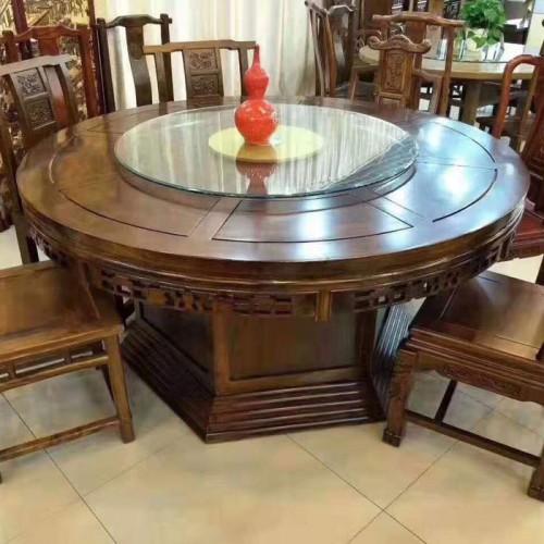 酒店雕刻圆形餐桌椅带转盘圆桌59