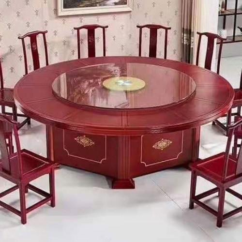 酒店包房餐桌椅大圆桌带转盘圆台60