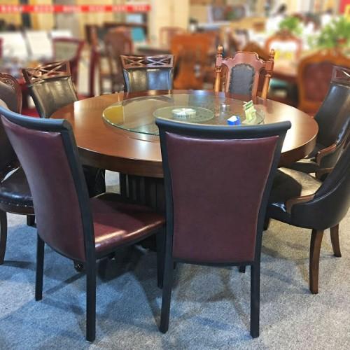 新中式餐桌椅酒店包间转盘餐桌63