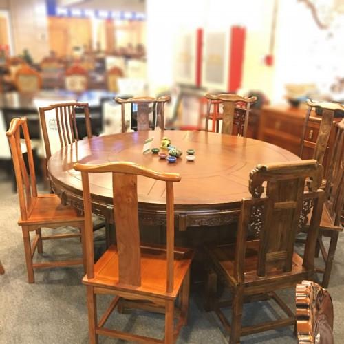 饭店吃饭圆桌仿古雕刻餐桌64