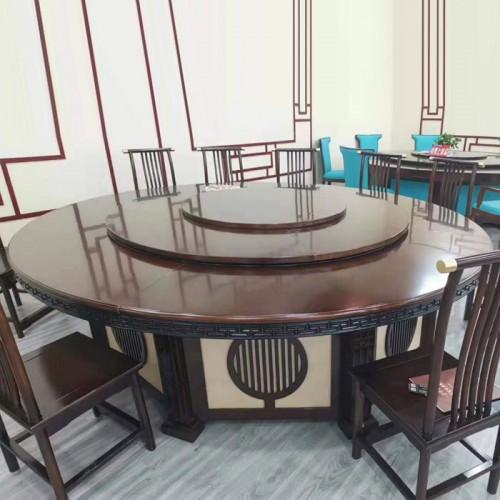 新中式酒店动大圆桌餐桌厂家优惠56