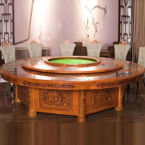 豪华仿古雕刻圆桌 酒店高档包间餐桌62