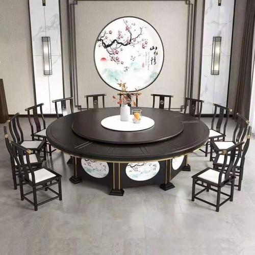 酒店新中式电动餐桌大圆桌品牌定制65