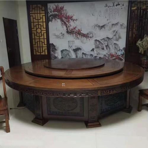 低价促销酒店电动餐桌雕刻大圆桌66