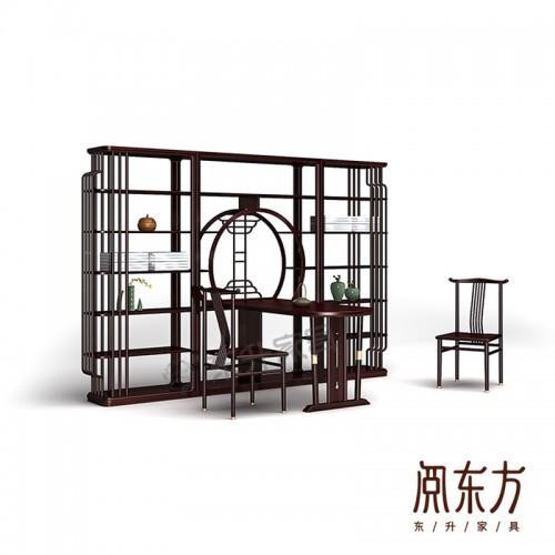 新中式茶台茶桌博古架组合家具 01