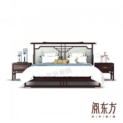 专业生产新中式古典双人床 06