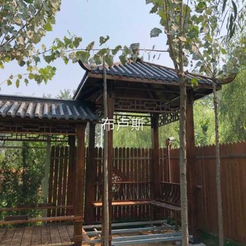 香河户外亭子长廊树脂顶实木碳化木松木厂家户外家具地板