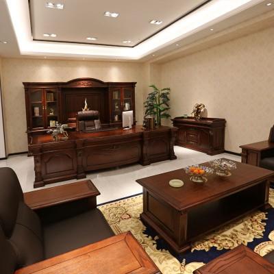盛世总裁经理办公桌油漆大班台老板台品牌 实木家具07