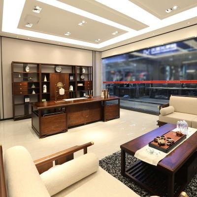祥泰新中式实木班台  老板桌   经理桌09