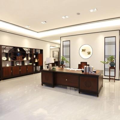 祥晖总裁老板办公桌厂家 油漆班台桌 新中式实木班台10