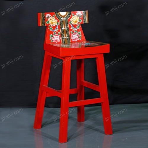 新古典红色彩绘高脚椅