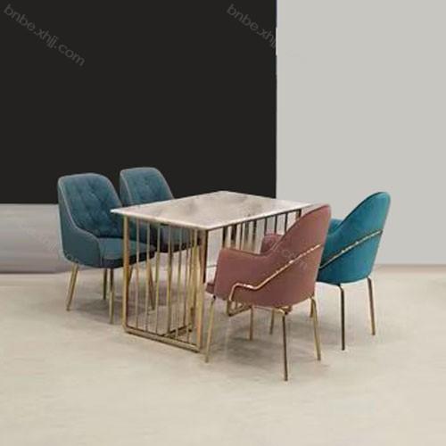 现代轻奢风大理石餐桌椅不锈钢长方形餐台18