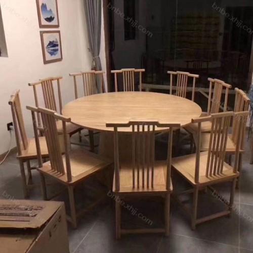 酒店餐厅仿古圆桌餐椅尺寸规格08