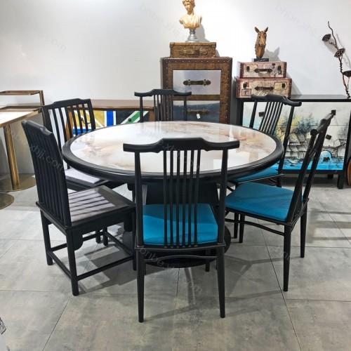 现代中式餐桌椅酒店餐厅圆桌供应商09
