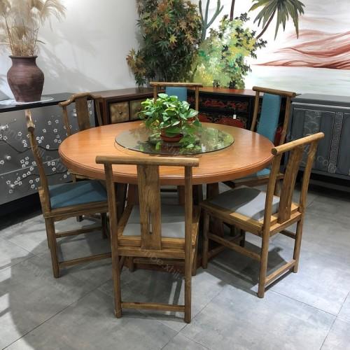 酒店圆桌饭店包厢中式餐桌椅生产批发10