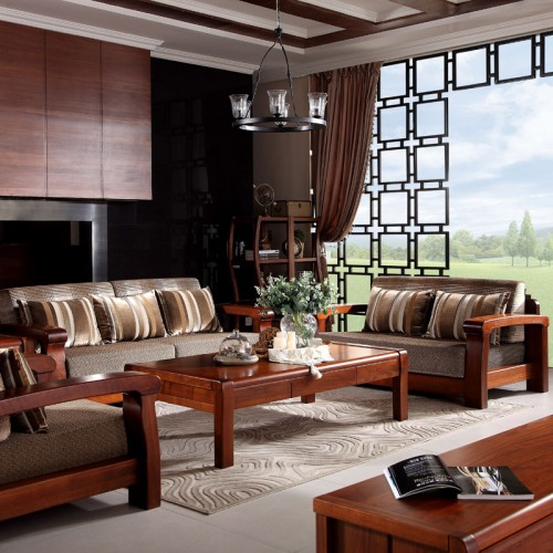 环保实木客厅沙发 小户型沙发茶几组合家具 66#