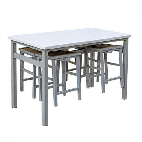 分体餐桌工厂食堂挂凳餐桌椅03