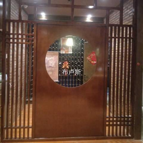 香河实木饭店隔断中式简易屏风桌椅碳化木松木芬兰木实物图片