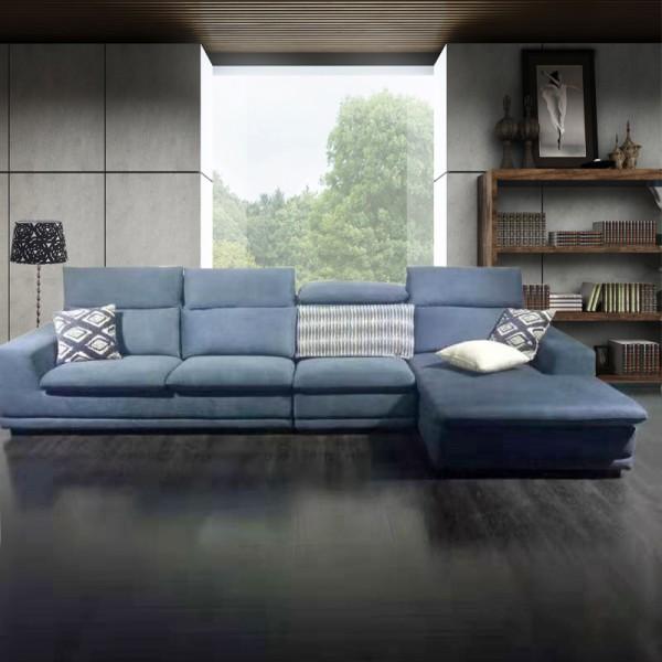 现代布艺L型沙发 客厅