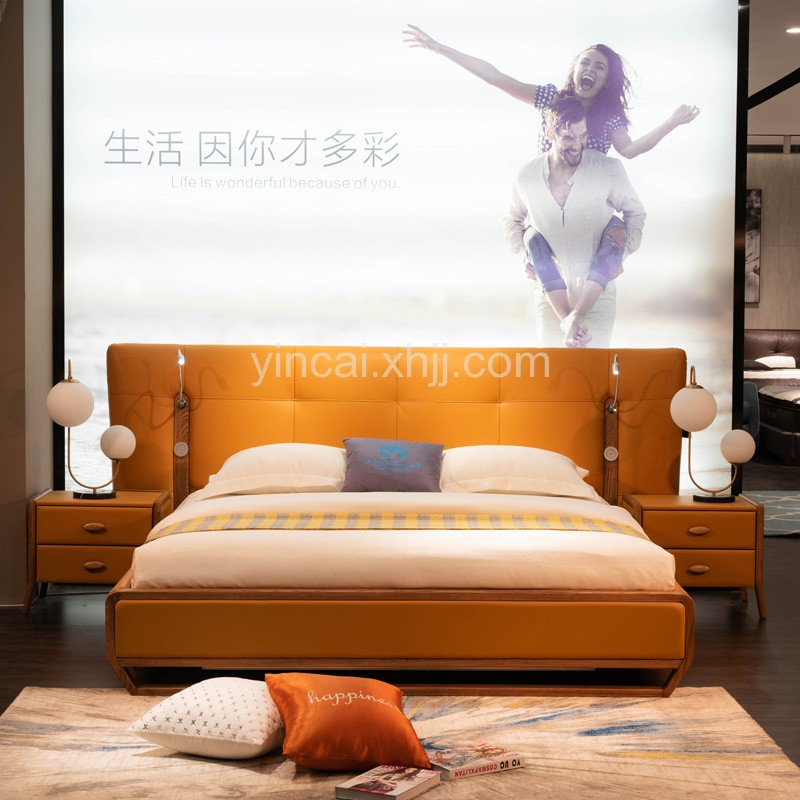 高档时尚卧室真皮床双人床生产厂家A043