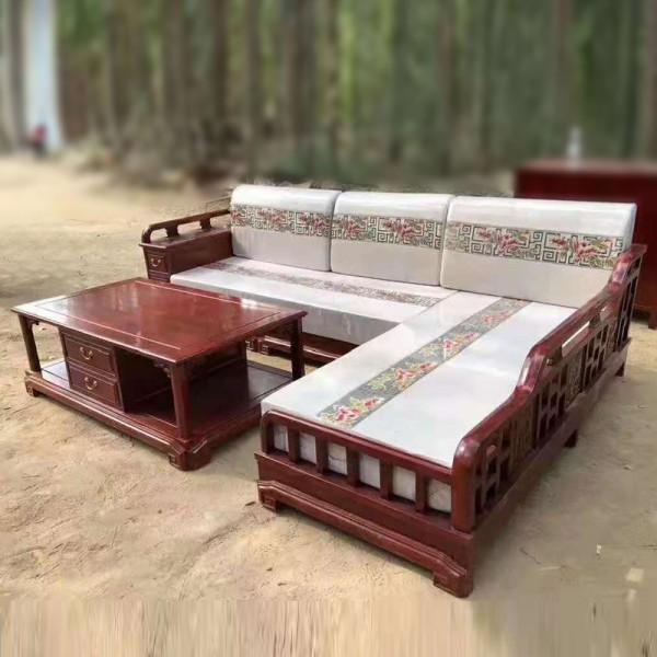现代老榆木转角沙发