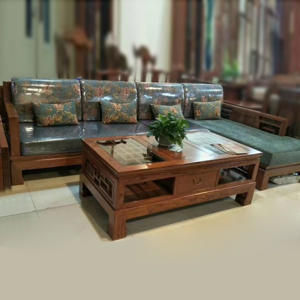 中式现代老榆木沙发采