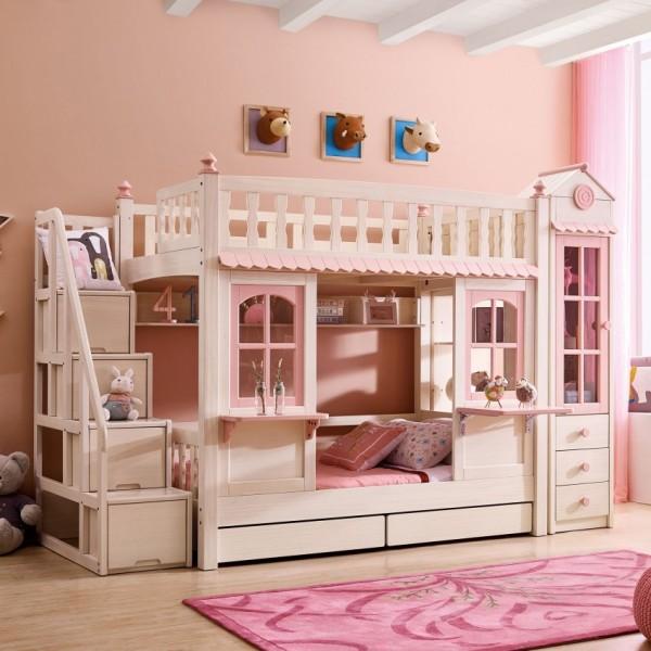 我的e家现代北欧风格粉紫色女孩儿童套房上下双层床DL01A