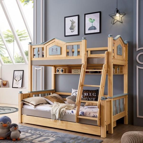 我的e家现代北欧风格儿童套房实木上下双层床DL07-12
