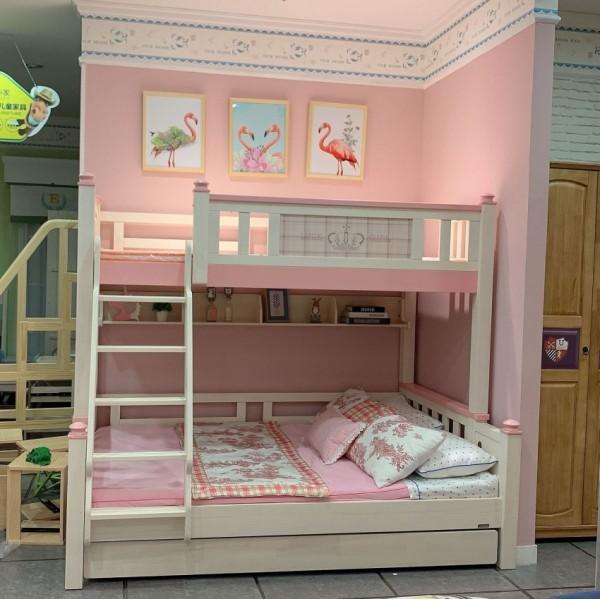 我的e家现代北欧风格粉色女孩儿童套房实木上下双层床DL10
