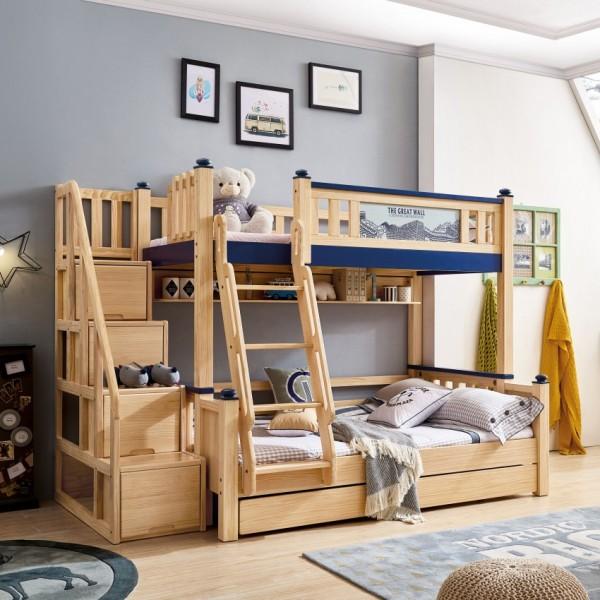 我的e家现代北欧风格蓝色男孩儿童套房实木上下双层床DL10-12