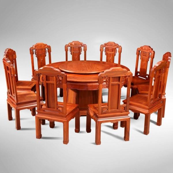 华夏一品檀雕如意圆桌1.38米