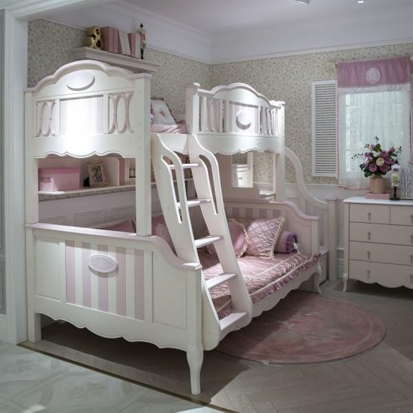 豆丁儿童家具粉色女孩实木床上下床