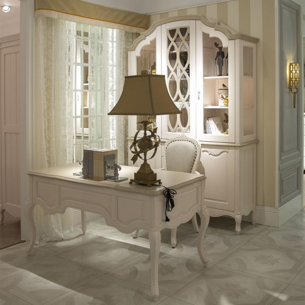 豆丁新贵族儿童家具白色书桌椅 酒柜