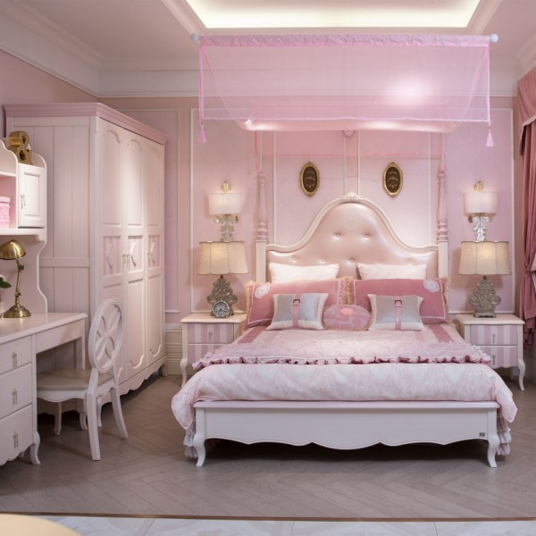 豆丁新贵族儿童家具粉色公主女孩房套房家具