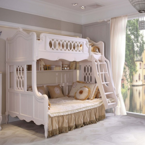 豆丁新贵族儿童家具白色公主女孩家具上下床