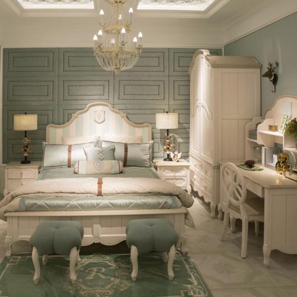 豆丁新贵族儿童套房实木家具浅绿色床