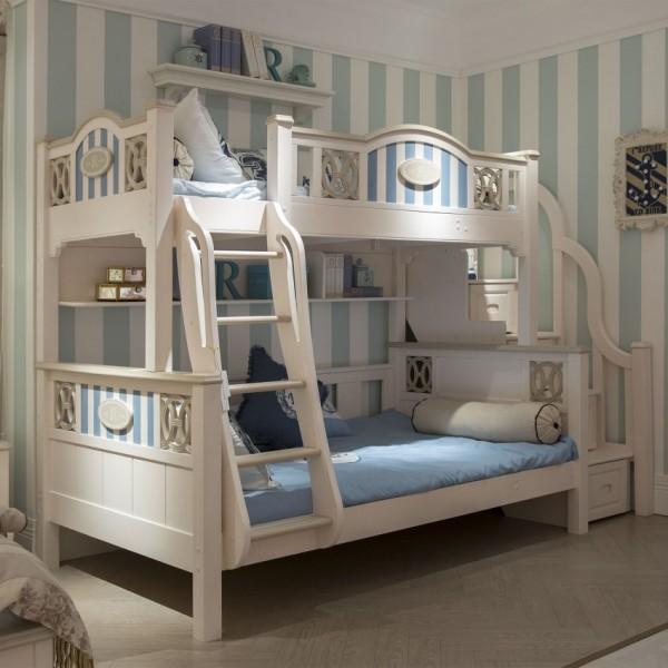 豆丁新贵族儿童家具蓝色男孩上下床实木家具