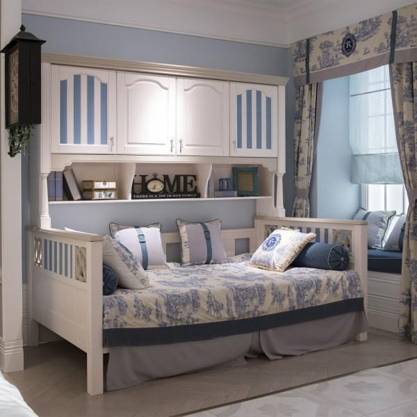豆丁新贵族儿童家具蓝色男孩书柜床实木家具