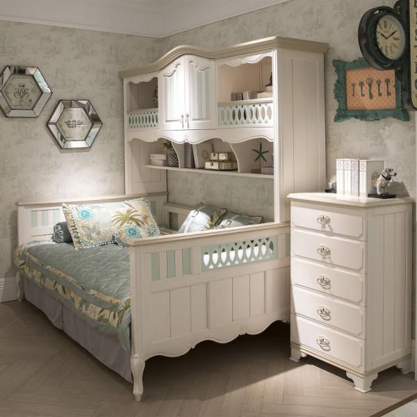 豆丁新贵族儿童家具绿色男孩书柜床实木家具斗柜