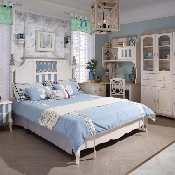 豆丁新贵族实木家具蓝色男孩儿童套房家具