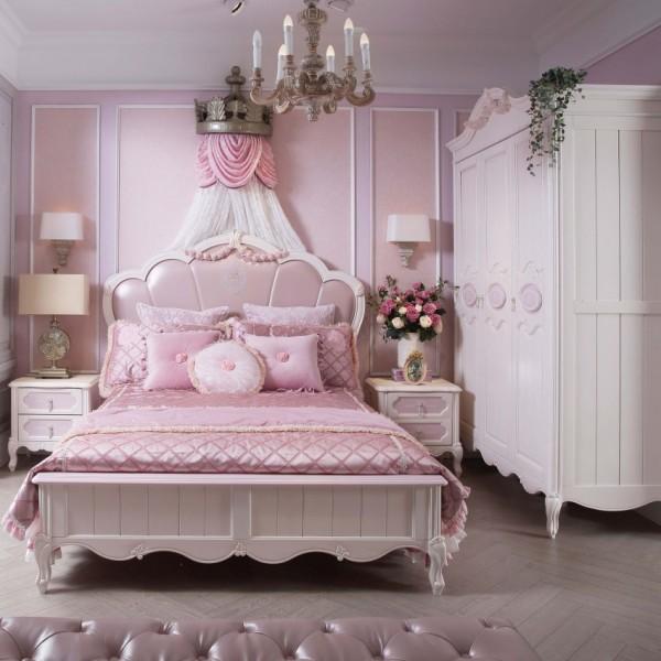 豆丁新贵族实木家具粉色女孩儿童套房家具