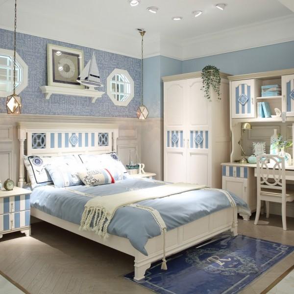 豆丁新贵族地中海实木家具蓝色男孩儿童套房家具