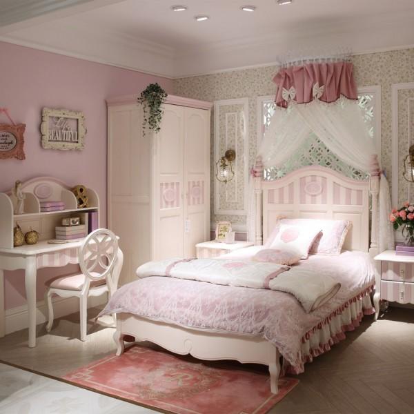 豆丁新贵族实木家具粉色女孩公主风儿童套房家具