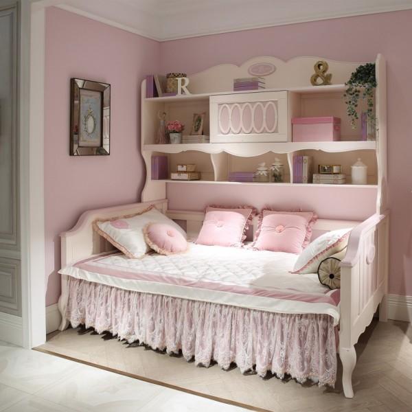 豆丁新贵族实木家具粉色女孩公主风书柜床