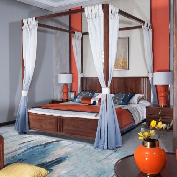 遇见新中式实木家具实木床床头柜