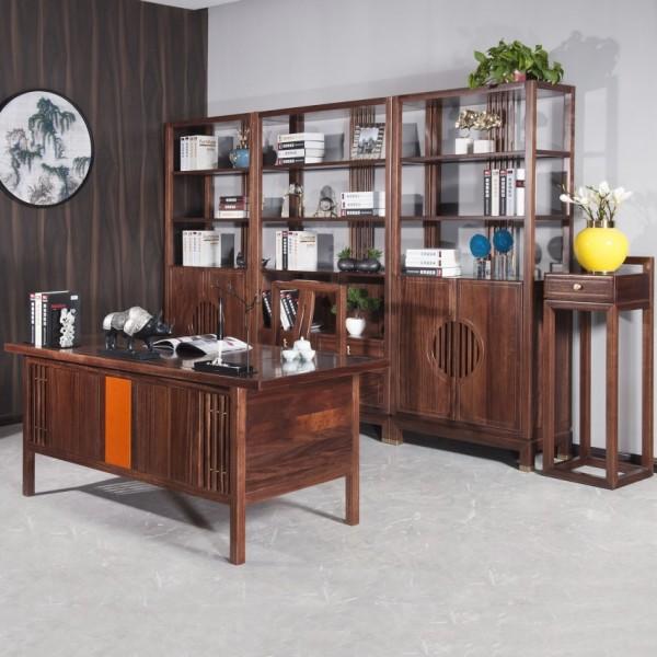 遇见新中式实木家具书房套书桌书柜花架
