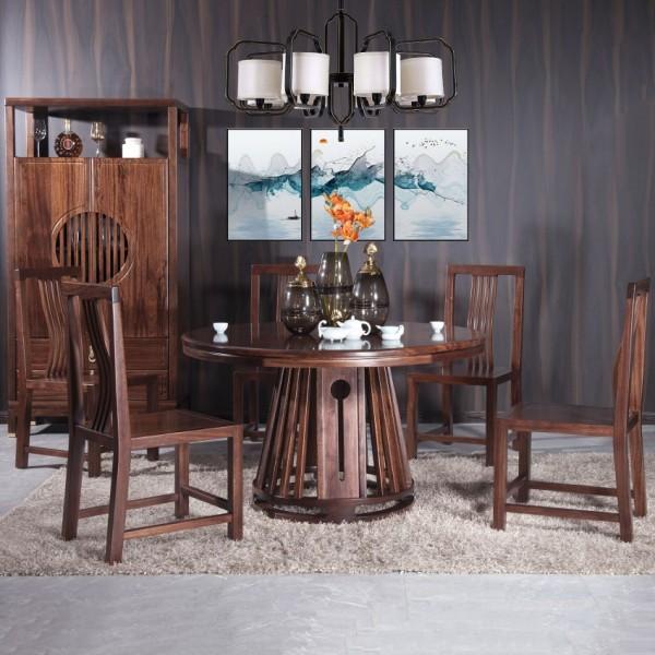 遇见新中式实木家具餐桌椅MTC-12#酒柜MTJ11#