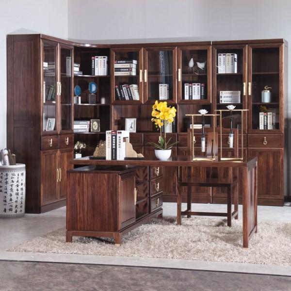 遇见新中式实木家具书房套转角书柜书桌椅花架