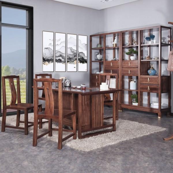 遇见新中式实木家具茶台餐椅博古架